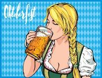 Vectorillustratie van een jong meisje die een glas van bier en een nippend slokje in hand houden Stock Afbeeldingen