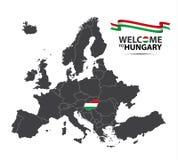 Vectorillustratie van een kaart van Europa met de staat Hongarije Stock Fotografie