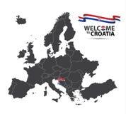 Vectorillustratie van een kaart van Europa met de staat Kroatië Royalty-vrije Stock Afbeeldingen