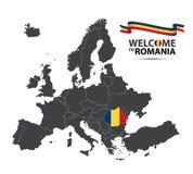 Vectorillustratie van een kaart van Europa met de staat Roemenië Royalty-vrije Stock Afbeeldingen