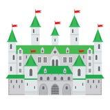 Vectorillustratie van een kasteel in vlakke stijl Middeleeuwse steen FO Royalty-vrije Stock Afbeeldingen