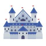 Vectorillustratie van een kasteel in vlakke stijl Middeleeuwse steen FO stock illustratie