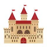 Vectorillustratie van een kasteel in vlakke stijl Middeleeuwse steenvesting Samenvatting royalty-vrije illustratie