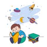 Vectorillustratie van een kleine jongen die een boek lezen en van het vliegen in ruimte dromen stock illustratie