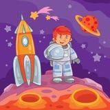 Vectorillustratie van een kleine jongensastronaut Stock Afbeeldingen