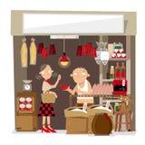 Vectorillustratie van een kleine lokale kruidenierswinkelopslag in Hong Kong Royalty-vrije Stock Foto