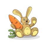 Vectorillustratie van een leuk beeldverhaalkonijn met wortel royalty-vrije illustratie