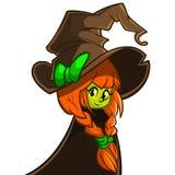 Vectorillustratie van een leuke heks in grote hoed Het karakter van beeldverhaalhalloween Stock Fotografie