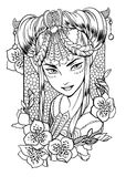 Vectorillustratie van een meisjesprinses en bloemenelementen Royalty-vrije Stock Fotografie