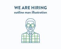 Vectorillustratie van een mens met baard die is Stock Afbeelding