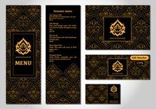 Vectorillustratie van een menu voor een restaurant of koffie Arabische oosterse keuken Stock Afbeeldingen