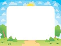 Vectorillustratie van een mooi de zomerlandschap Stock Foto's