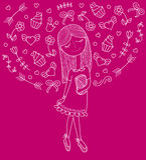 Vectorillustratie van een mooi maniermeisje in leuke kleding met zak Betoverende dame op purpieachtergrond vector illustratie