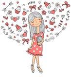Vectorillustratie van een mooi maniermeisje in leuke kleding met zak Betoverende dame op witte achtergrond royalty-vrije illustratie