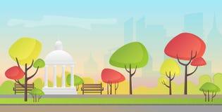 Vectorillustratie van een mooi park van de de herfststad met moderne stadswolkenkrabbers die achtergrond bouwen De herfstavond bi Stock Fotografie