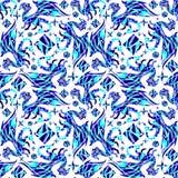 Vectorillustratie van een patroon met draken en sterren Stock Afbeelding