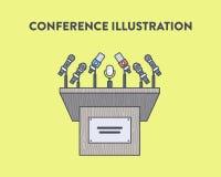 Vectorillustratie van een persconferentie Stock Foto