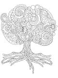 Vectorillustratie van een pluizige grote boomtatoegering Royalty-vrije Stock Afbeeldingen