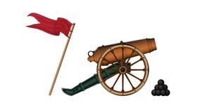 Vectorillustratie van een 12 pond brons-gekleurd artilleriekanon op een groen vervoer met een groot wiel Dichtbij de kanonkanonsk stock illustratie