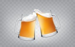 Vectorillustratie van een realistische stijl twee glas roosterende mokken met bier, de glazen van het toejuichingenbier Royalty-vrije Stock Afbeeldingen