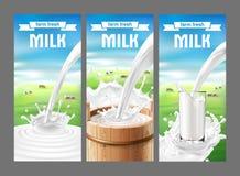 Vectorillustratie van een reeks etiketten voor melk en zuivelfabriek vector illustratie