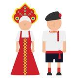 Vectorillustratie van een Russische man en een vrouw in de nationale kostuums Stock Foto's