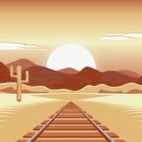Vectorillustratie van een spoorweg en in het verlaten landschap Royalty-vrije Stock Afbeeldingen