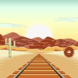 Vectorillustratie van een spoorweg en in het verlaten landschap, met een blauwe hemel en de bergen op de achtergrond Royalty-vrije Stock Fotografie