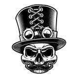 Vectorillustratie van een steampunkschedel in hoge zijden stock illustratie