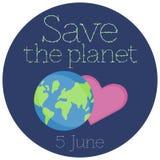 Vectorillustratie van een Sticker voor de Dag van het Wereldmilieu royalty-vrije illustratie