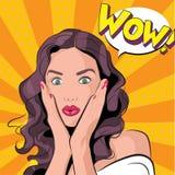 Vectorillustratie van een verbaasd vrouw of een meisje stock illustratie