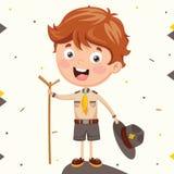Vectorillustratie van een Verkenner Kid royalty-vrije illustratie