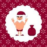 Vectorillustratie van een vette mens in Kerstmanhoed royalty-vrije illustratie