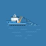 Vectorillustratie van een vissersboot, visserijschip met een vangst in de netwerkzeilen op het overzees royalty-vrije illustratie