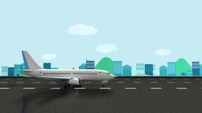 Vectorillustratie van een vliegtuigstart op een baan met luchthaven op de achtergrond vector illustratie