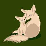 Vectorillustratie van een vosfamilie Stock Afbeeldingen