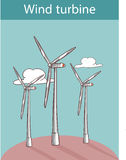 Vectorillustratie van een windturbines Stock Foto's