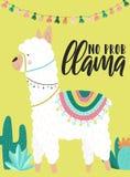 Vectorillustratie van een witte alpaca in kleren met nationale Zuidamerikaanse motieven, decoratie en cactussen met een inschrijv royalty-vrije illustratie