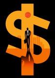 Vectorillustratie van een zakenman op stadsachtergrond Stock Afbeelding