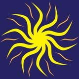 Vectorillustratie van een zon op een blauwe achtergrond Royalty-vrije Stock Afbeeldingen