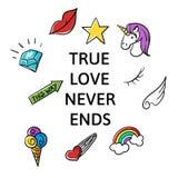 Vectorillustratie van einden van de slogan de Ware liefde nooit Royalty-vrije Stock Fotografie