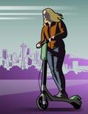 Vectorillustratie van Elektrische Autopedruiter royalty-vrije illustratie