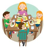 Vectorillustratie van familie die en om een dankzeggingsmaaltijd verzamelen vieren zich samen te eten Stock Fotografie