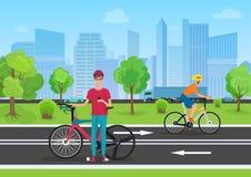 Vectorillustratie van fietsers in het park Mensenfietser die zijn telefoon met behulp van De fietsers die in de stad lopen parker stock illustratie