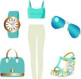 Vectorillustratie van flatlay van de kleren van de de zomermanier Stock Fotografie