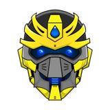 Vectorillustratie van geel robothoofd Royalty-vrije Stock Afbeeldingen
