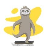Vectorillustratie van gelukkige leuke luiaard op skateboard Royalty-vrije Stock Fotografie