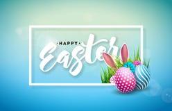 Vectorillustratie van Gelukkige Pasen-Vakantie met Geschilderd Ei, Konijnoren en de Lentebloem op Glanzende Blauwe Achtergrond vector illustratie