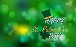 Vectorillustratie van Gelukkige St Patrick ` s Dag, de Achtergrond van Bokeh van het de Lenteonduidelijke beeld voor banner, kaar Stock Fotografie
