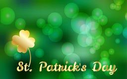 Vectorillustratie van Gelukkige St Patrick ` s Dag, de Achtergrond van Bokeh van het de Lenteonduidelijke beeld voor banner, kaar Stock Foto's